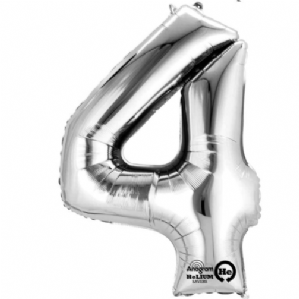 "Silver Number 4 Mini-Foil Balloon (16"" Air) 